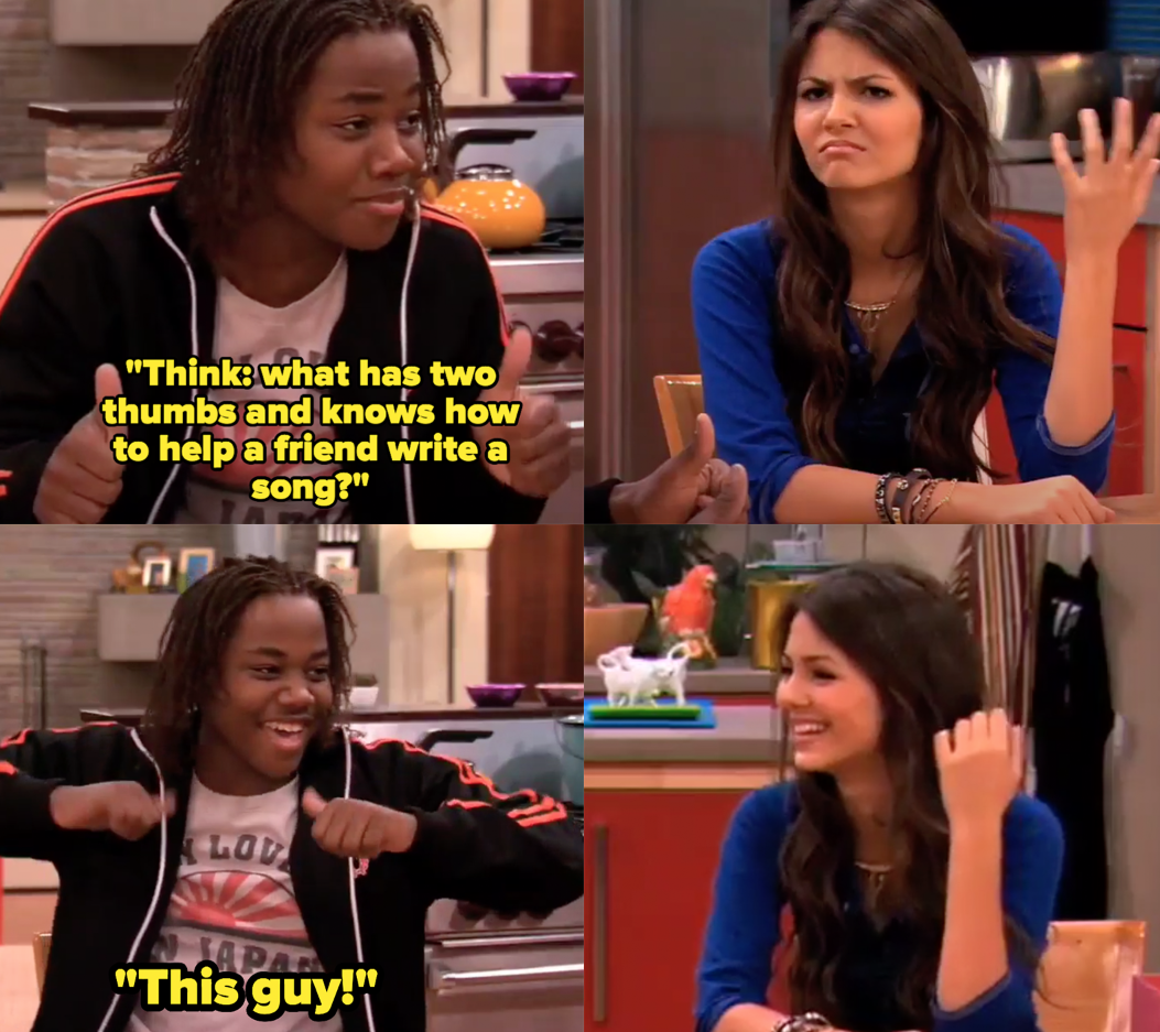 """Victoria Justice as Tori Vega and Leon Thomas III as Andre Harris in the show """"Victorious."""""""