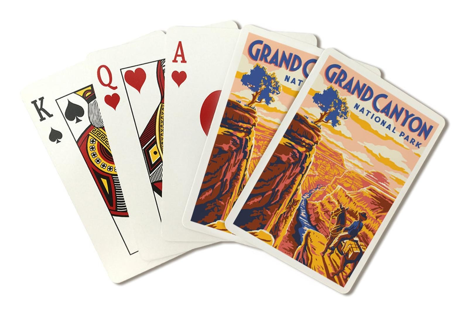 The pack of playing cards with one card showing an illustrated image of the Grand Canyon National Park