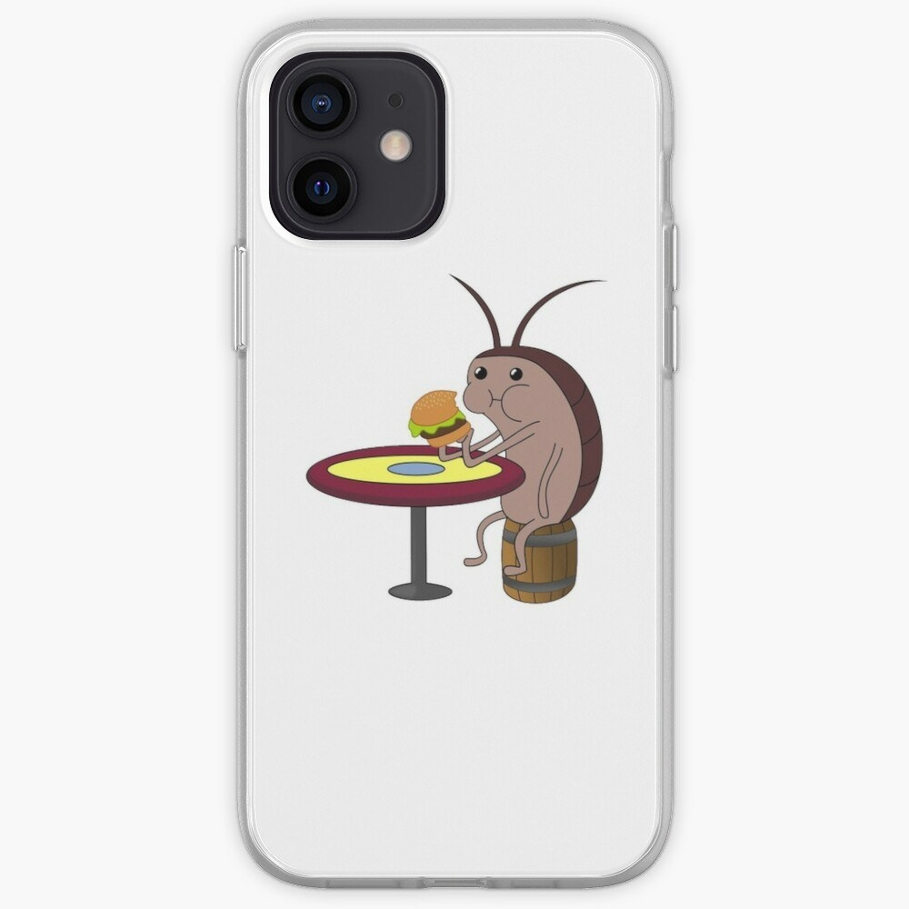 The phone case features a roach munching on a Krabby Patty