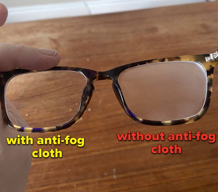 The anti-fog cloth only used on one of the lenses of Kat's glasses, and the lens it was not used on is fogged up while the one is is used on is totally clear