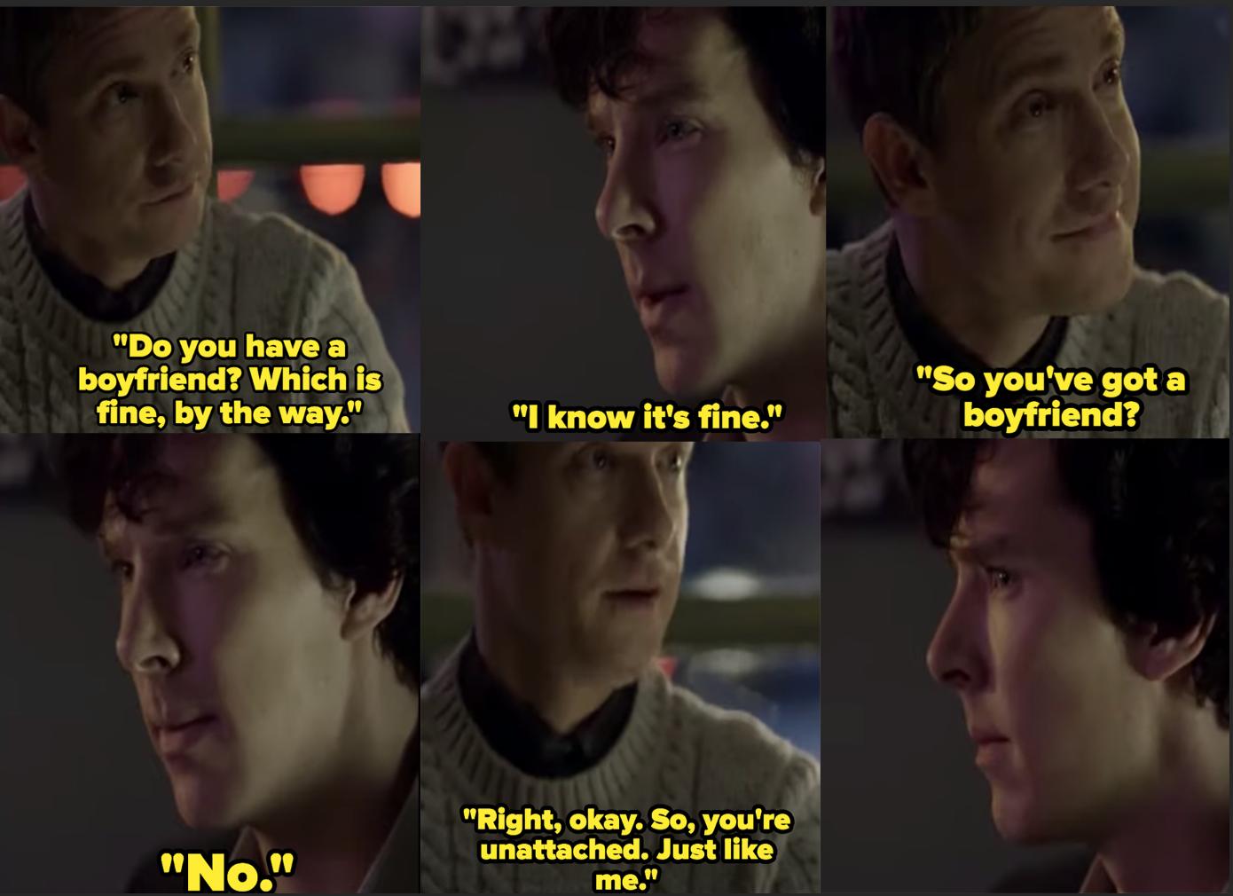 "Martin Freeman as Dr. John Watson and Benedict Cumberbatch as Sherlock Holmes in the show ""Sherlock."""