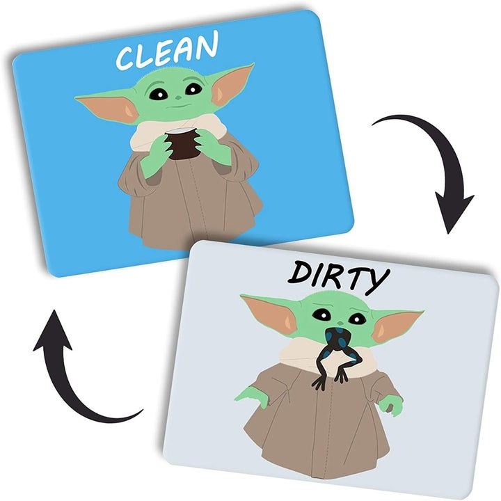 "A reversible magnet - one side is Baby Yoda holding a mug and says ""Clean,"" the other is baby yoda eating a frog that says ""dirty"""