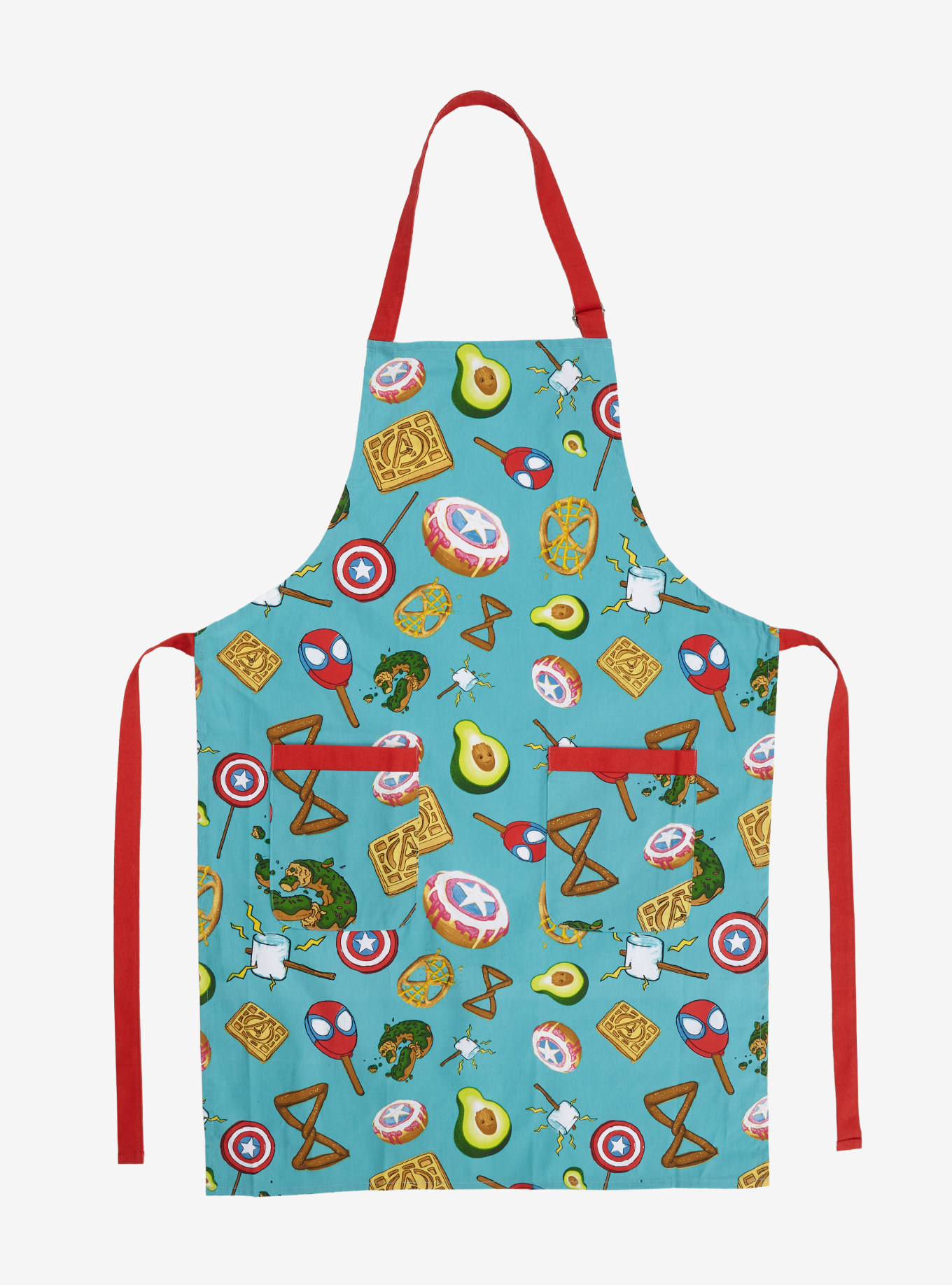 The turquoise apron features Spider-Man, pretzels, marshmallows, Captain America shields, avocados, and Avengers waffles