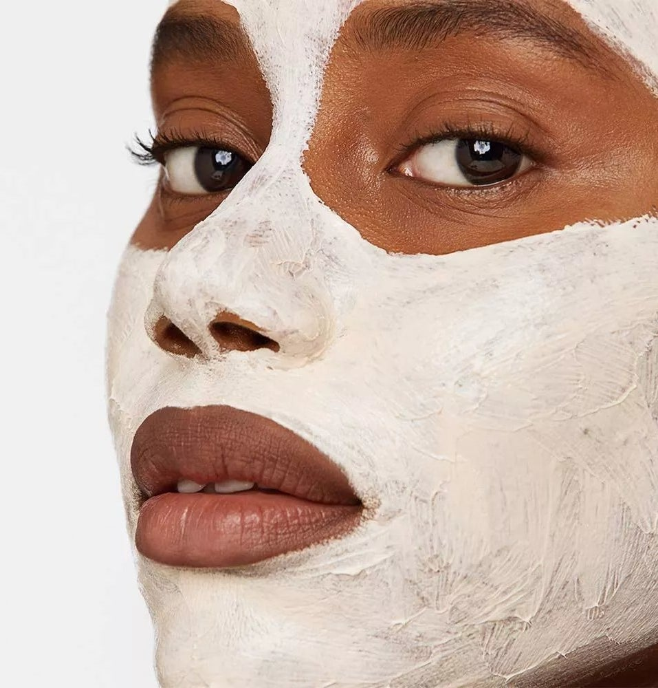 A model wearing the face mask
