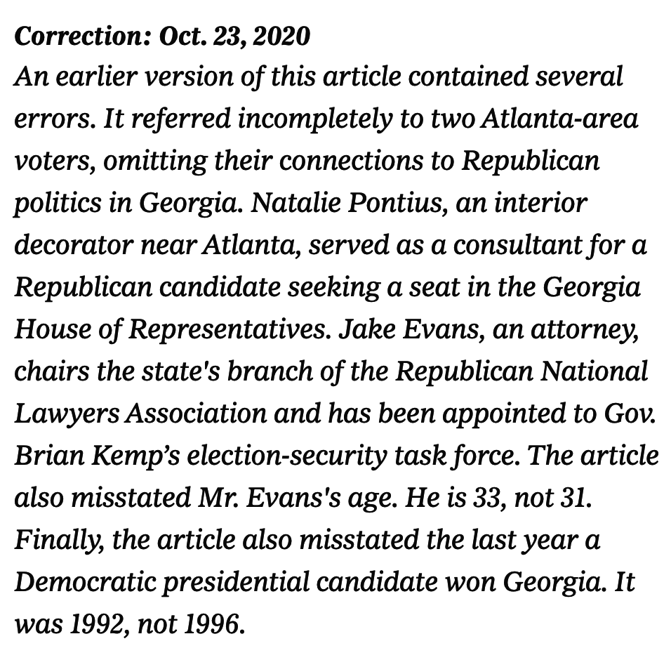 Screenshot of a lengthy correction, which includes omitting two voters' connections to Republican politics in Georgia, misstating one of their ages, and misstating the last year a Democratic presidential candidate won Georgia