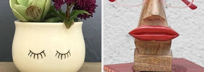 succulent planter next to eyeglass holder
