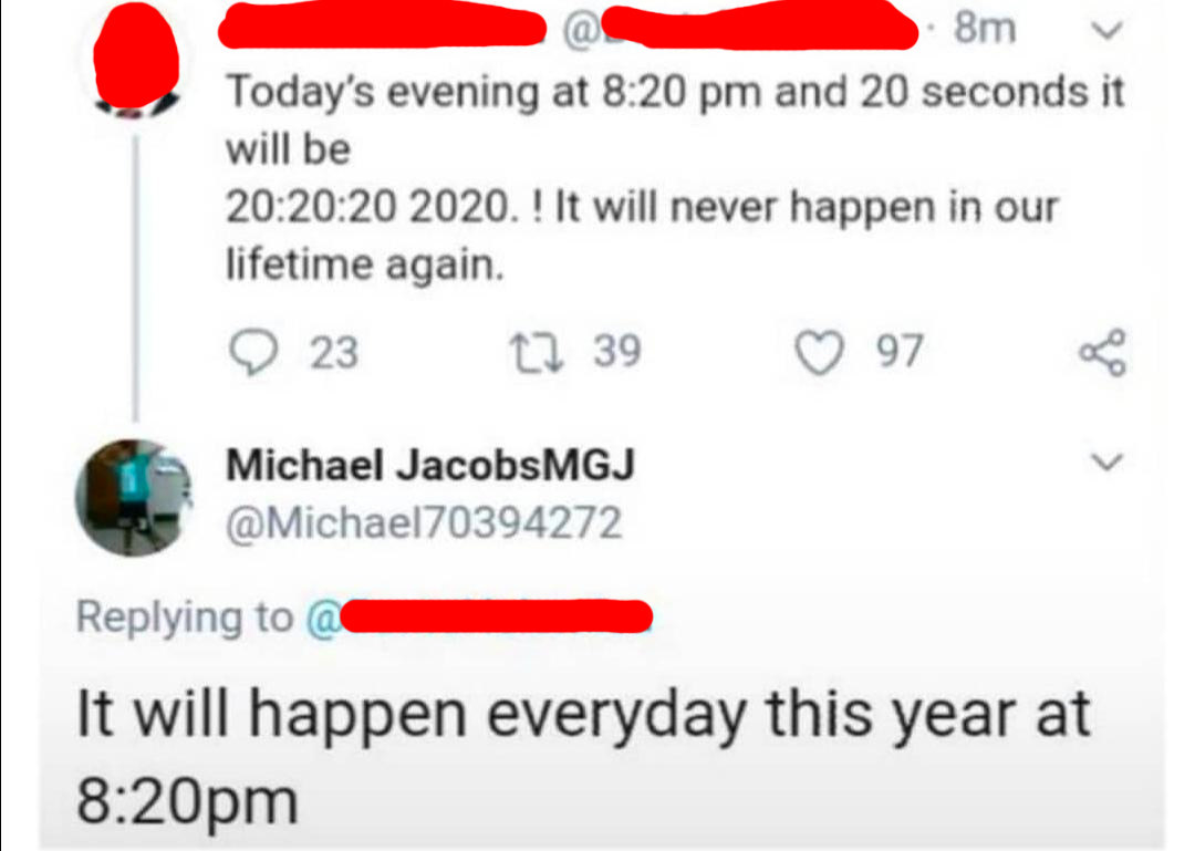 twitter post of someone thinking that 20:20:20:2020 is a unique time when it happens every day this year