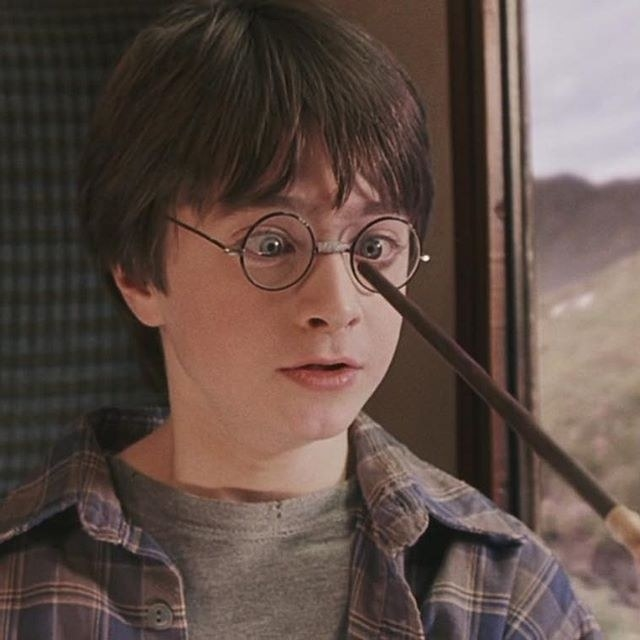 Hermione pointing her wand at Harry's glasses and he looks frightened