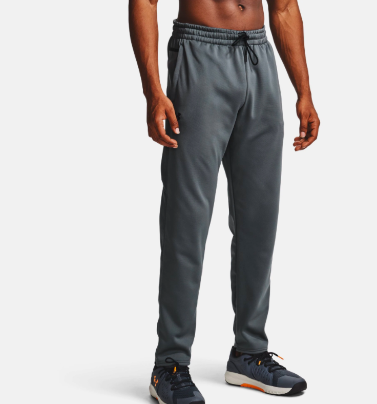 a model wearing the pants in gray