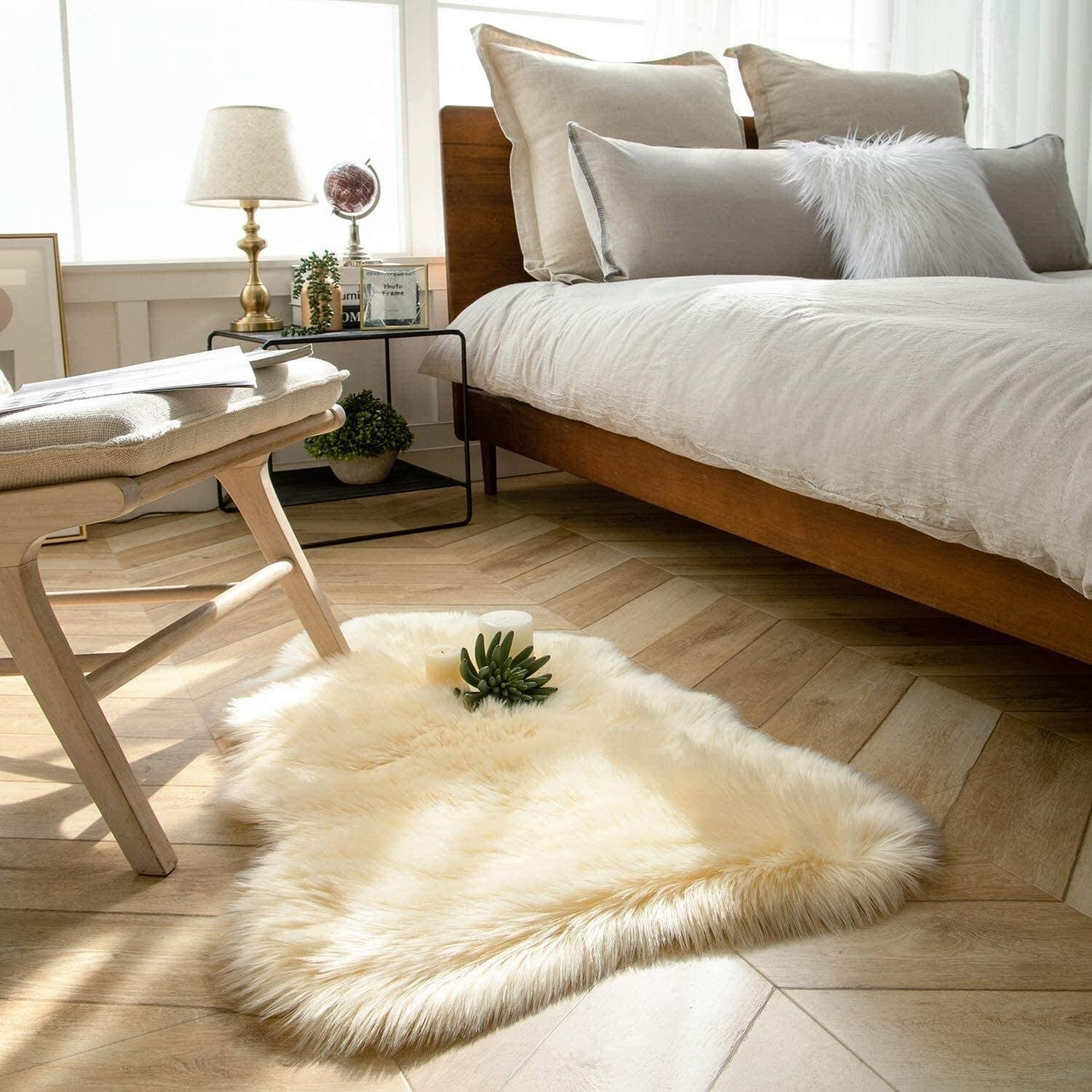 The rug beside a bed