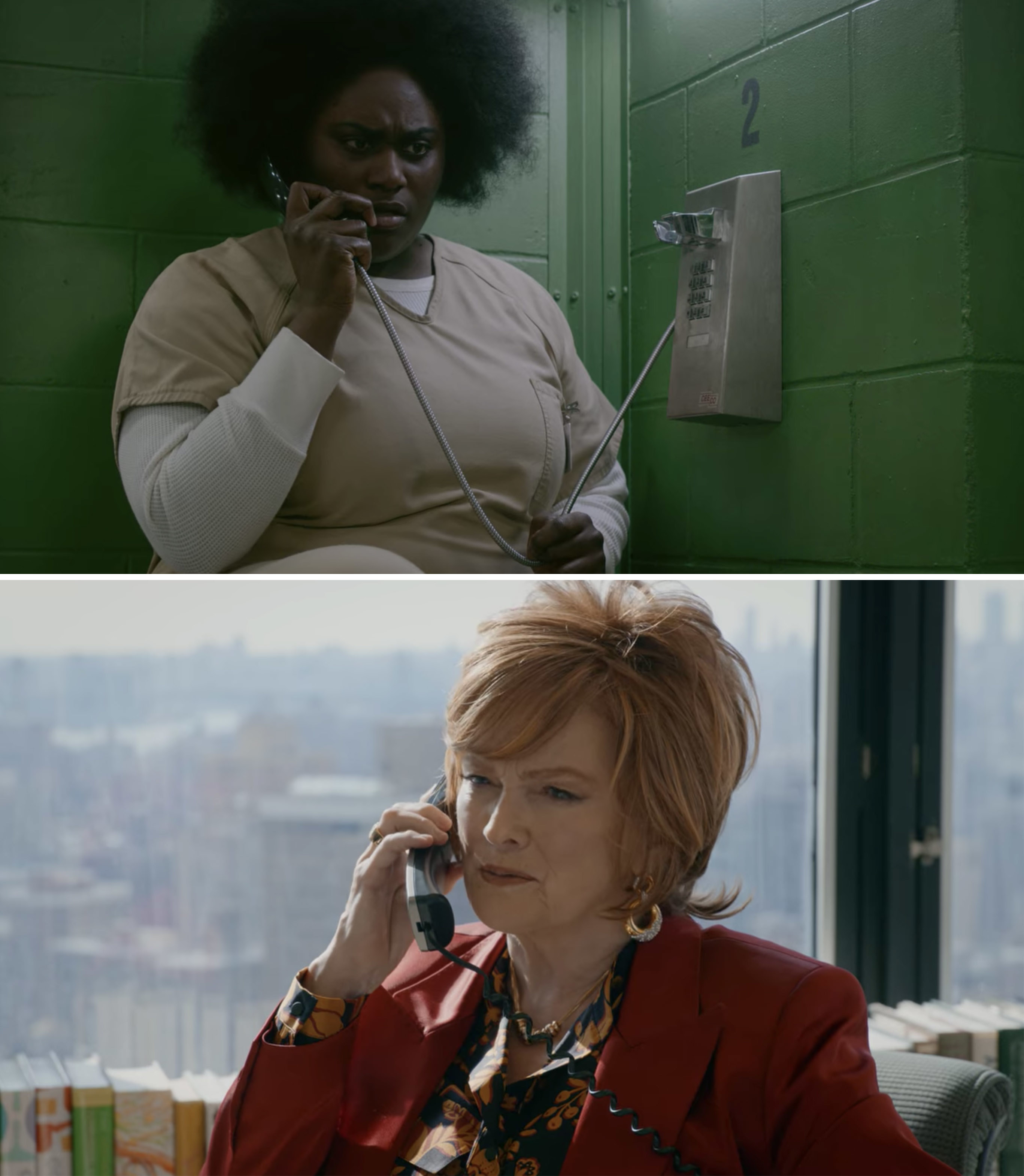 Taystee talking to Judy King on the phone