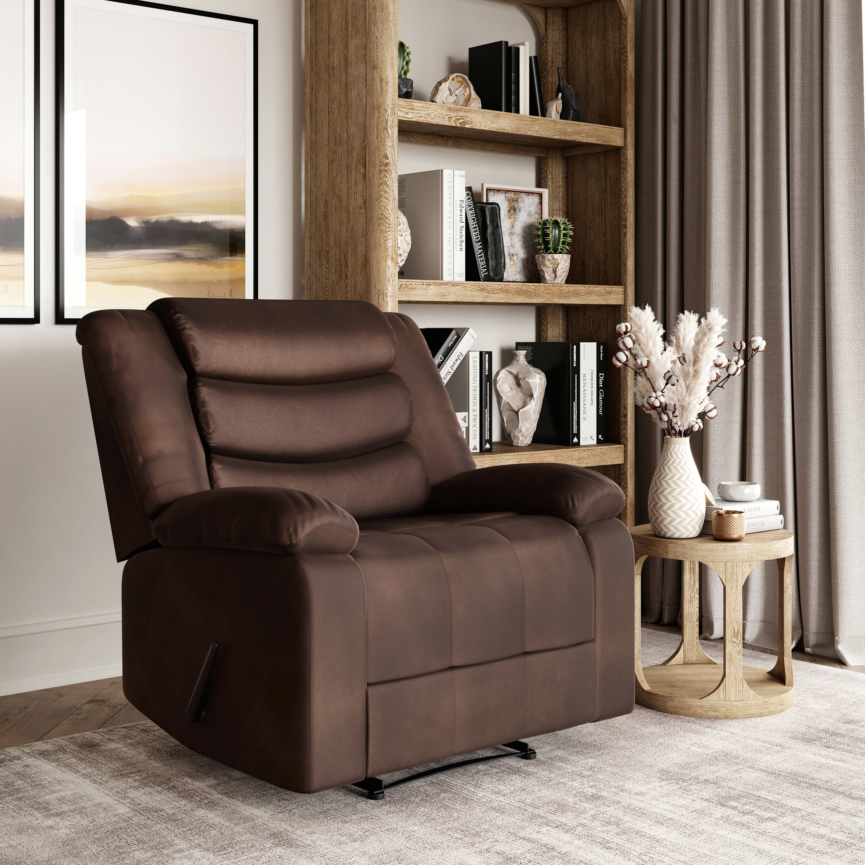 The brown recliner in a living room