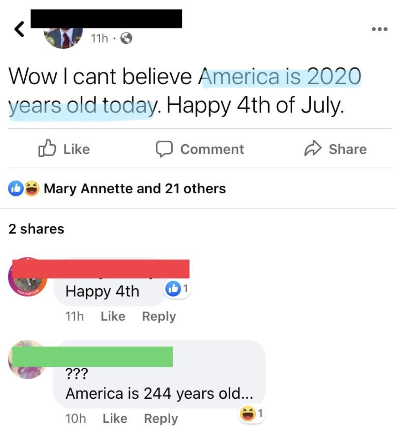 facebook post of someone wishing america a happy 2020th birthday on the 4th of july