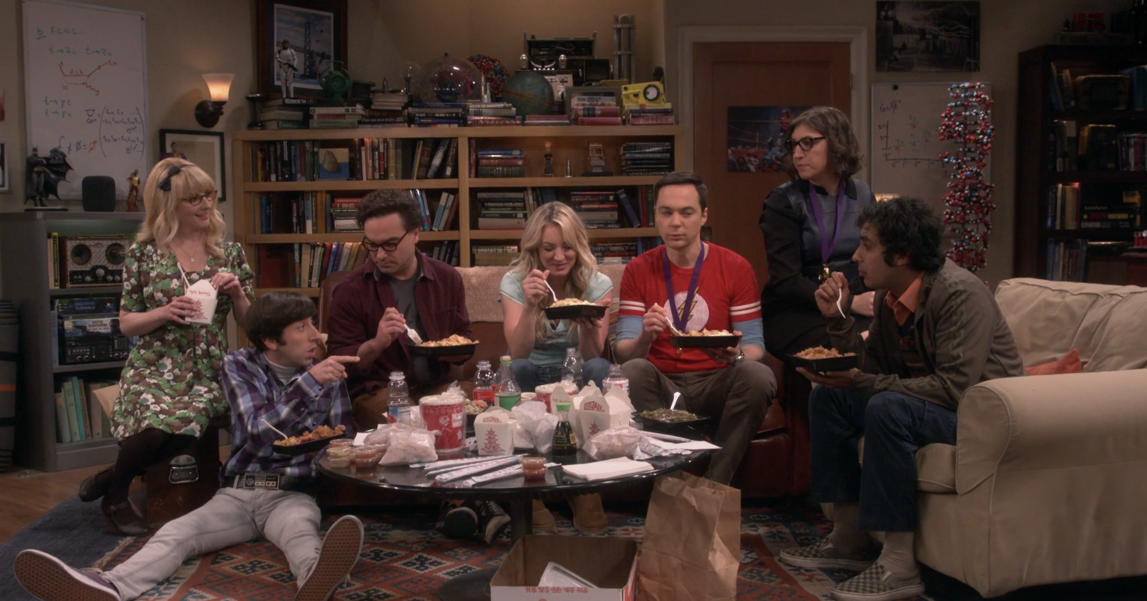The entire gang sitting on the coach and eating Chinese food during the series finale
