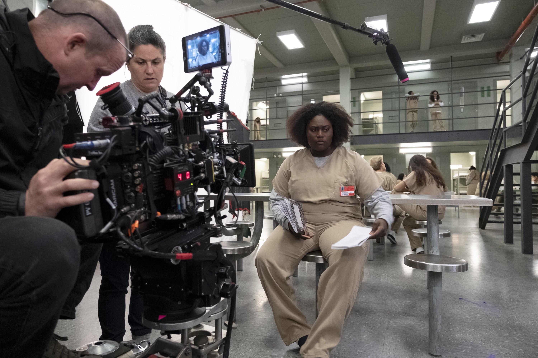 Danielle Brooks filming a scene for Orange Is the New Black's final season