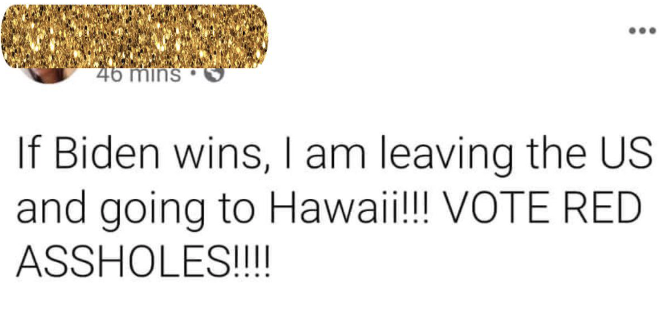 facebook post reading if biden wins i am leaving the us and going to hawaii