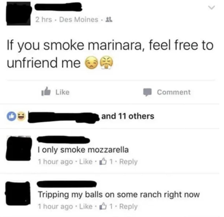 someone mixing up the word marijuana for marinara