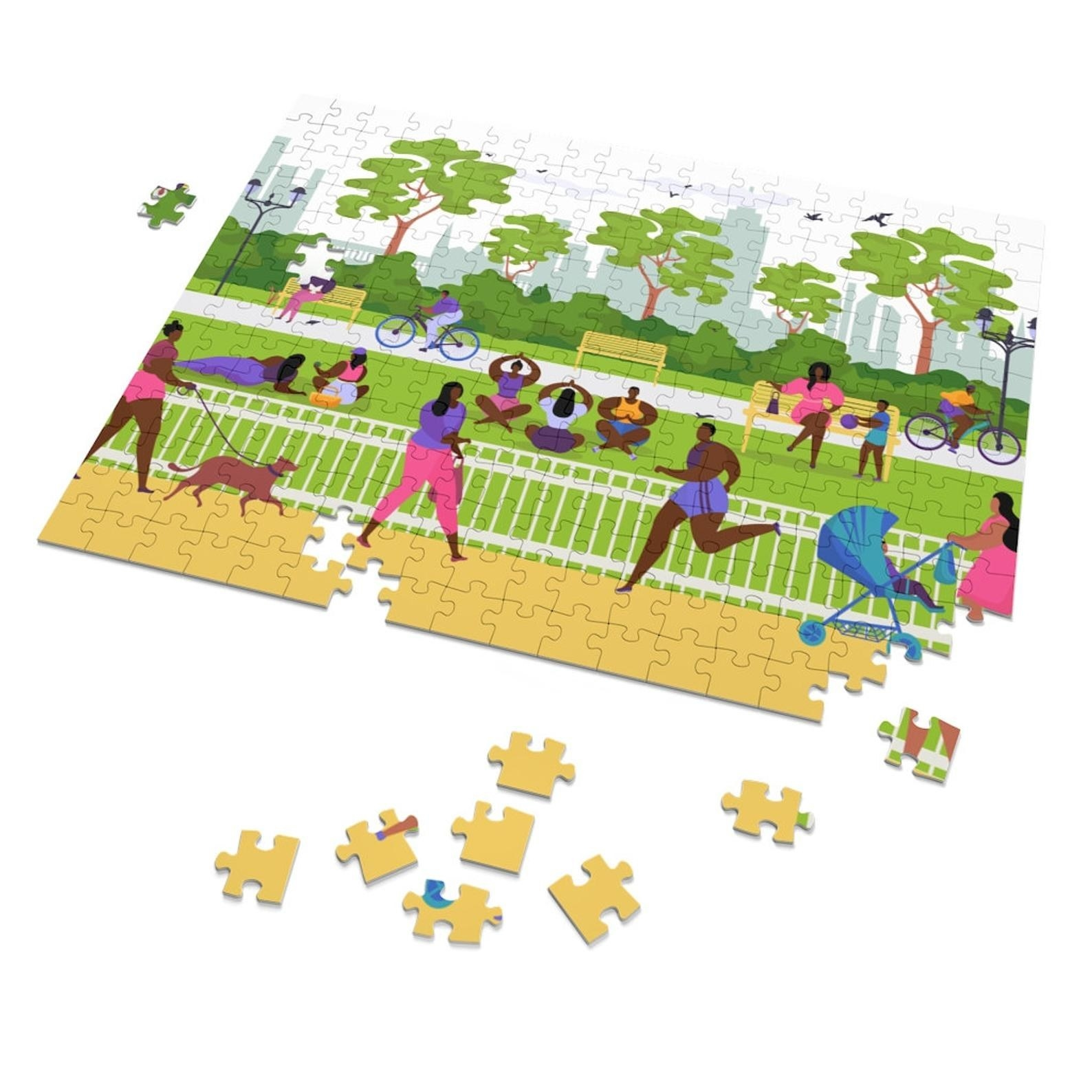 a puzzle with an animated park scene that includes folks doing yoga, walking, running, biking, walking their dogs or kids in strollers — all in a park that looks super fun to visit