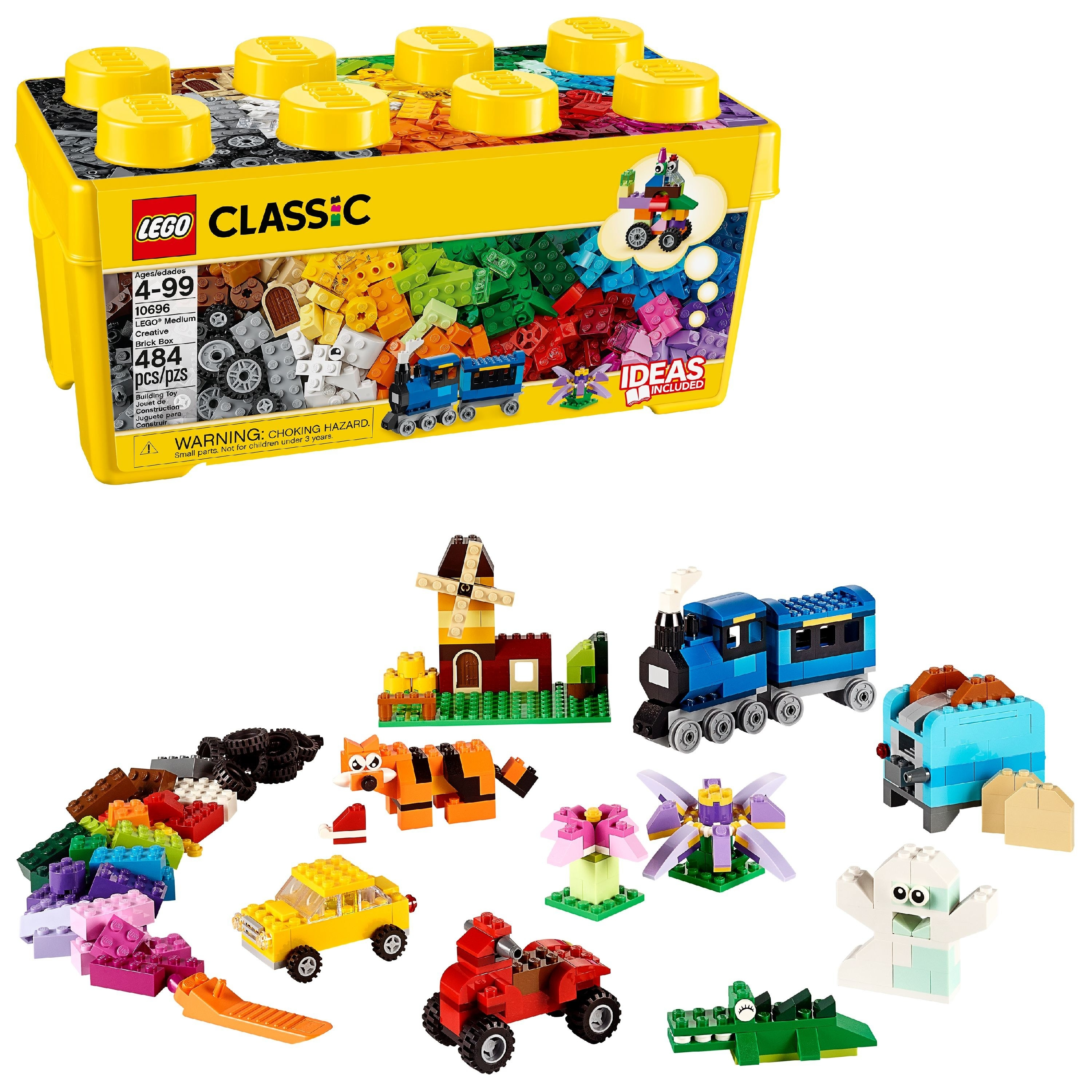 The yellow brick-shaped box and an assortment of colorful bricks