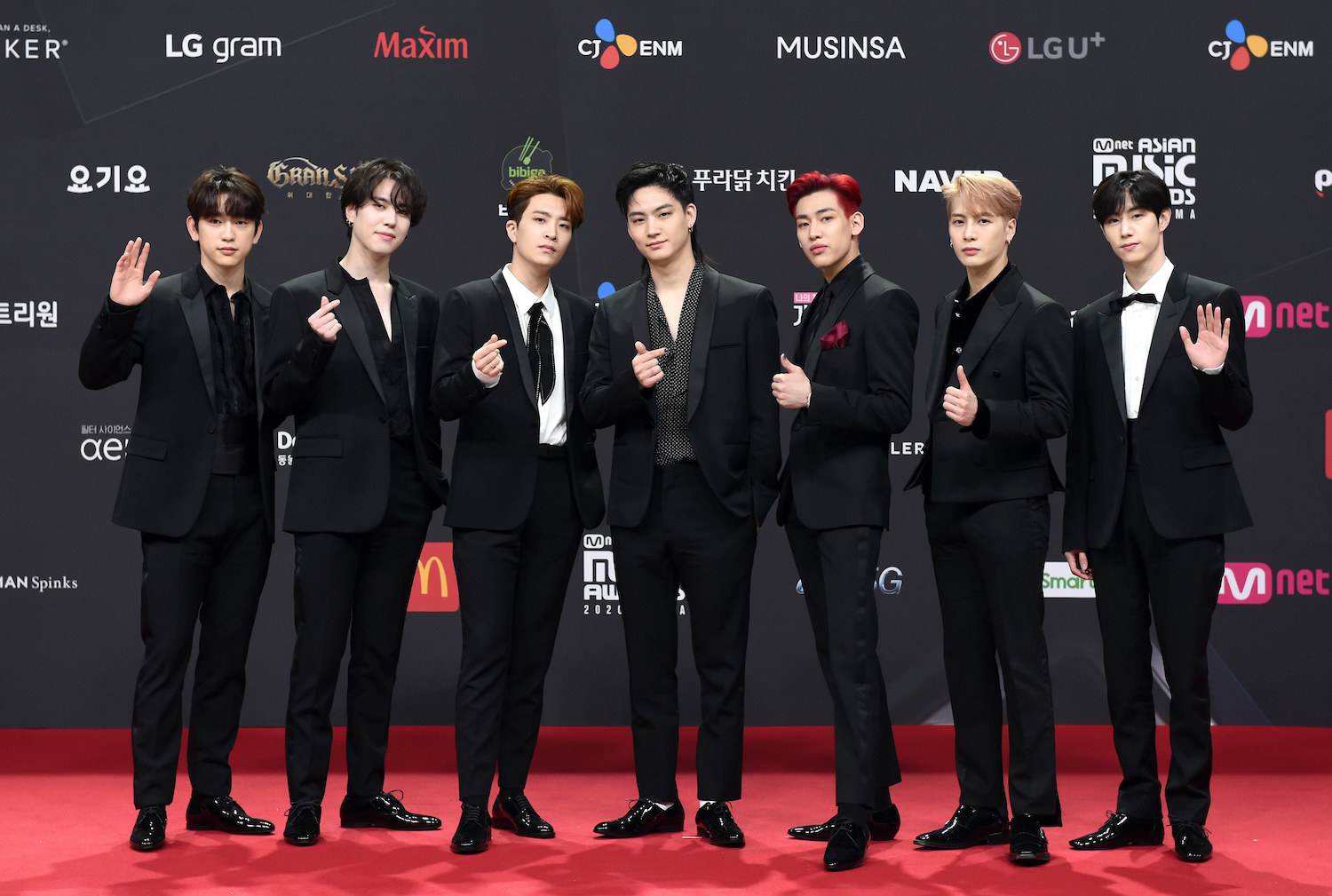 GOT7, wearing suits, attends the 2020 Mnet Asian Music Awards
