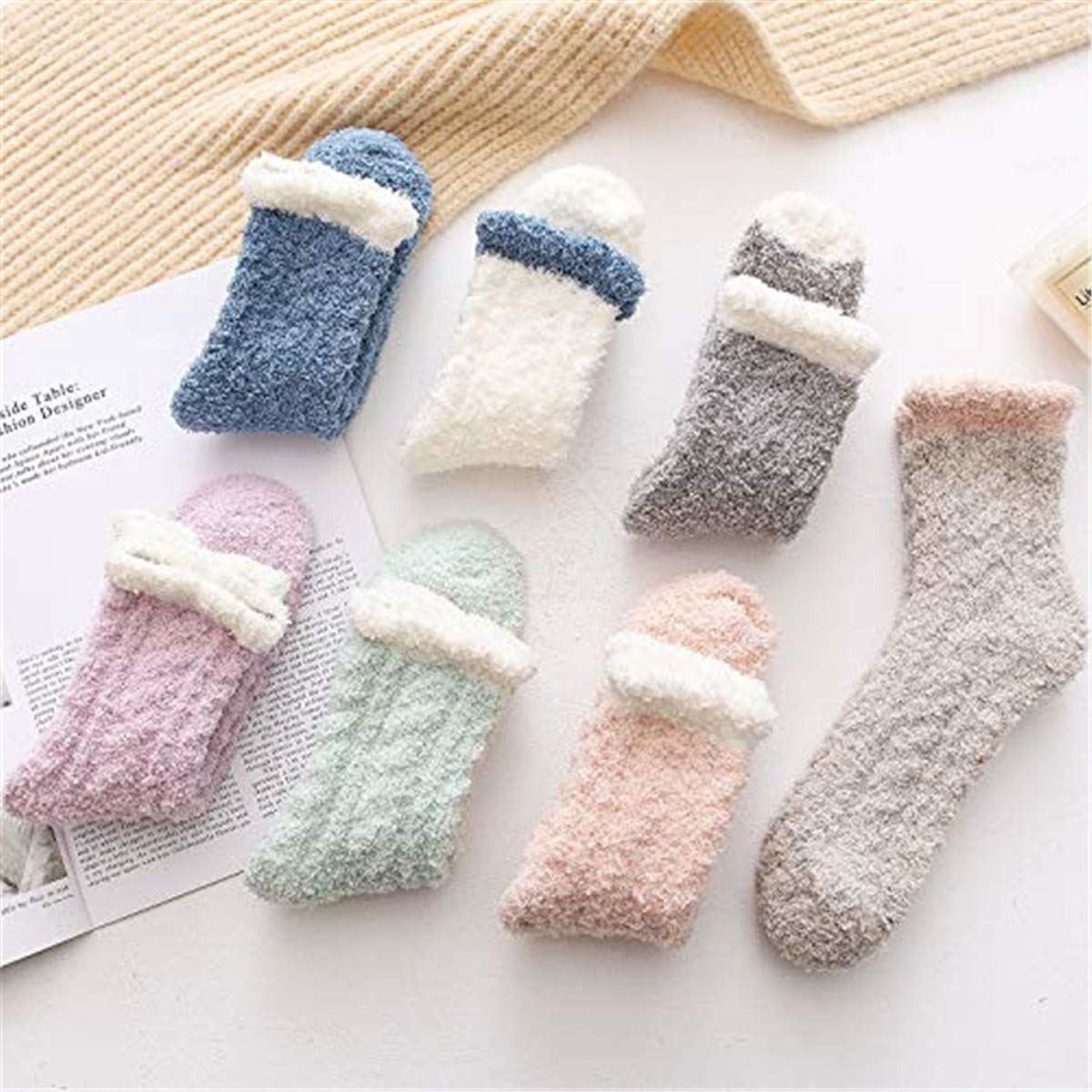 various colors of fuzzy socks