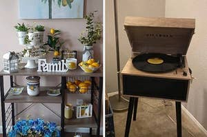 on left a bar cart and on right a record player