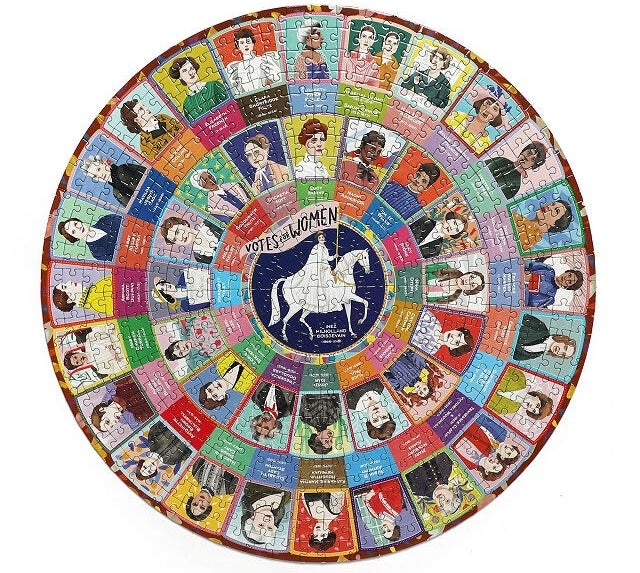 The circular puzzle, which features the faces of suffragettes