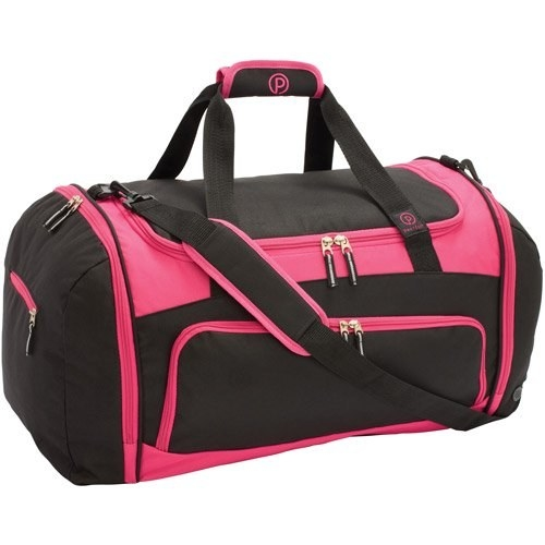 The pink and black duffel