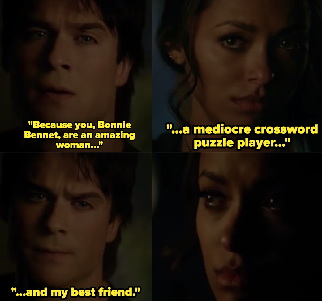 "Ian Somerhalder as Damon Salvatore and Kat Graham as Bonnie Bennett in the show ""The Vampire Diaries."""