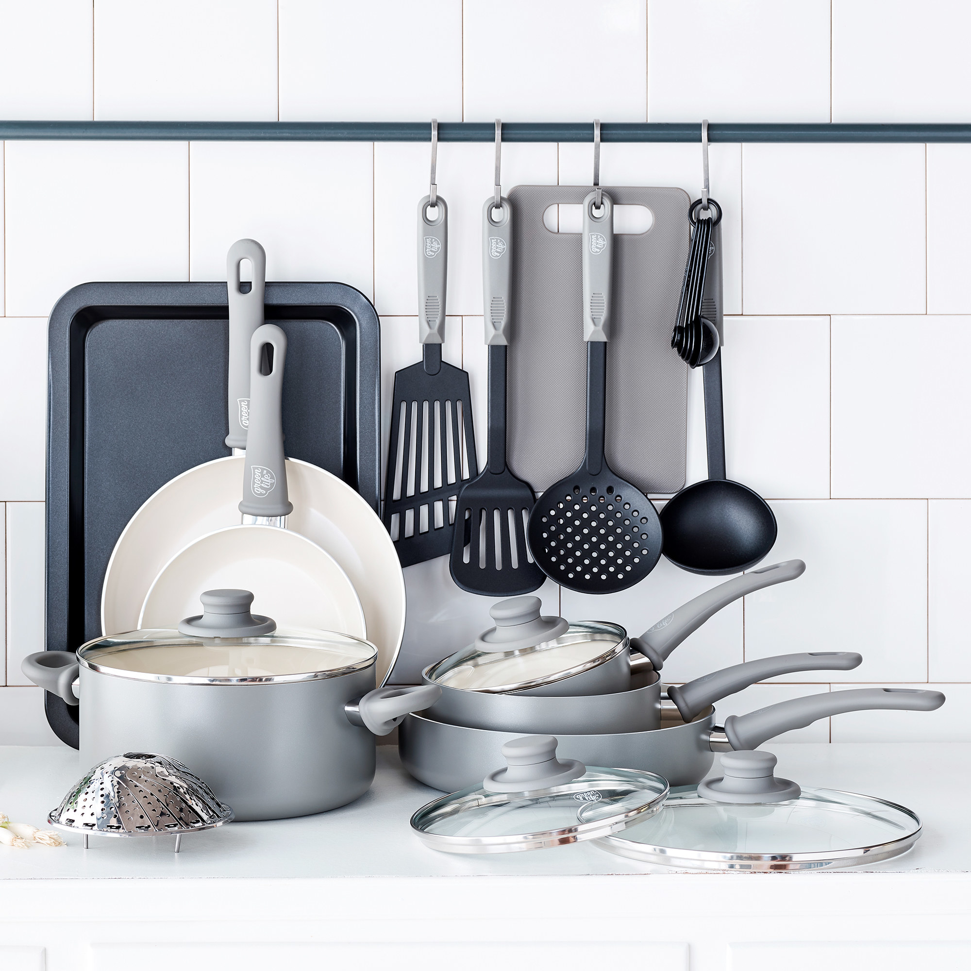 The grey cookware set and accessories