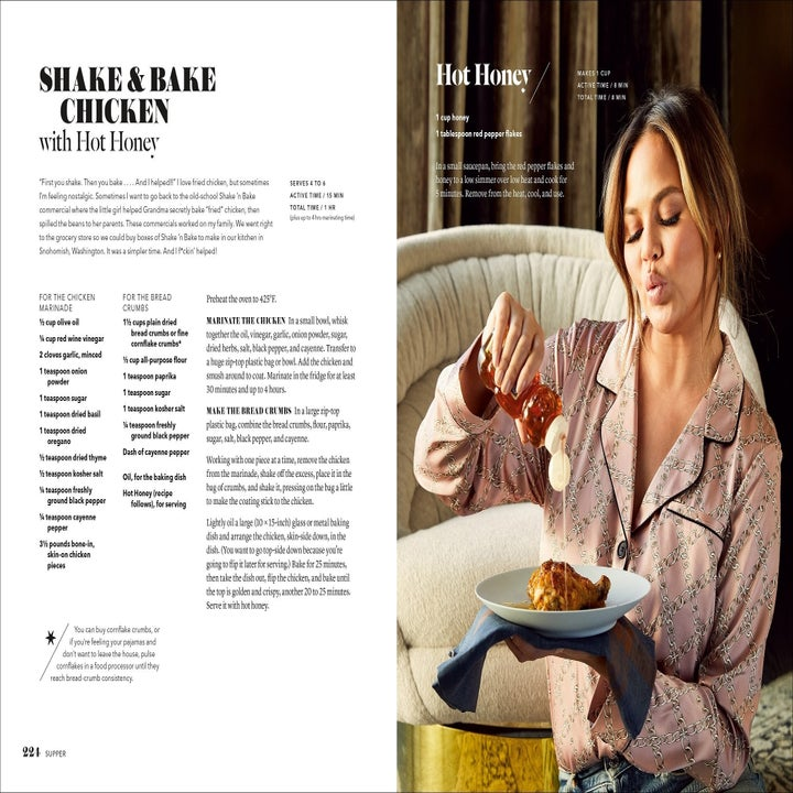 """the cookbook open to the """"shake bake chicken"""" recipe on one page and Chrissy Teigen holding a plate with a piece of fried chicken on it while she pours honey over it"""
