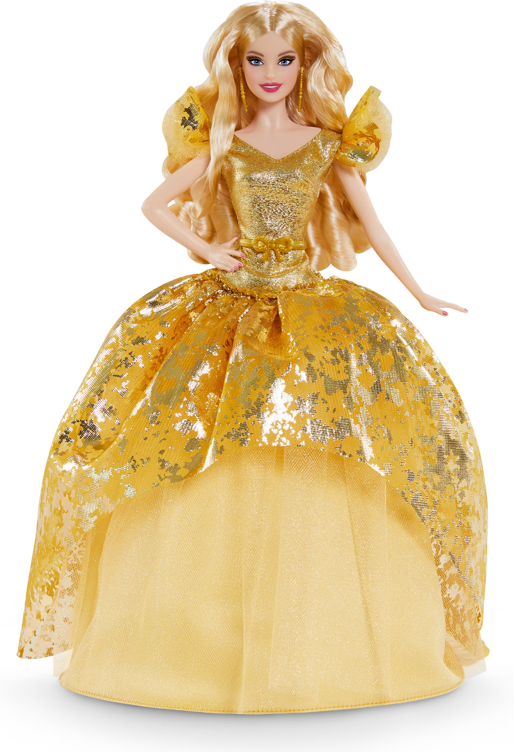 The blonde doll in a gold gown