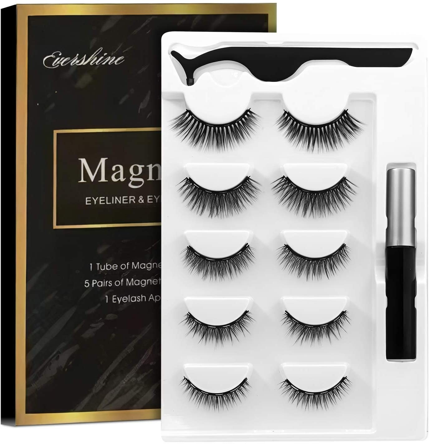 Five pairs of lashes that vary in length and volume, next to a tube of eyeliner and curved tweezers