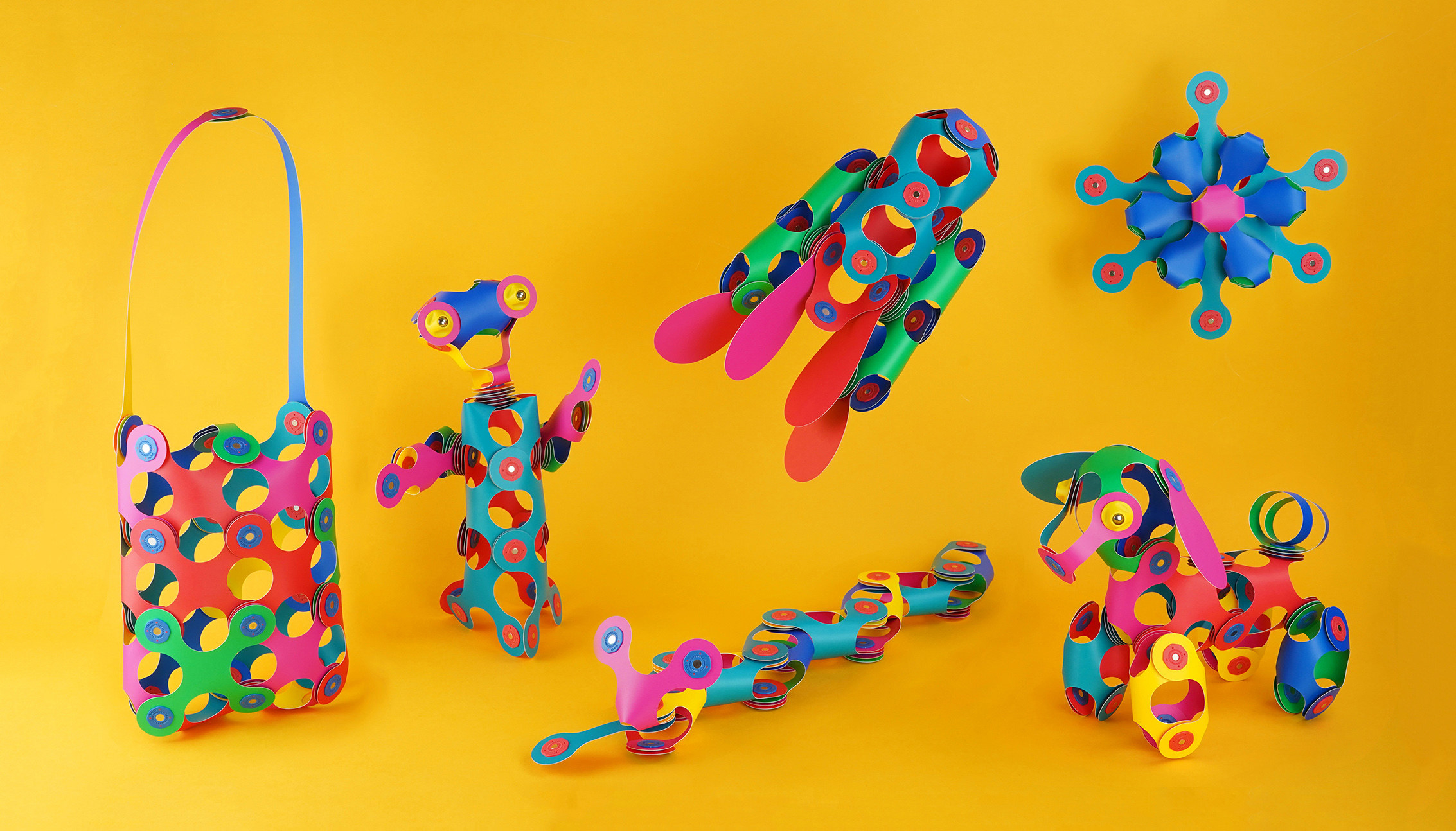 Clixo toys assembled into various shapes and animals