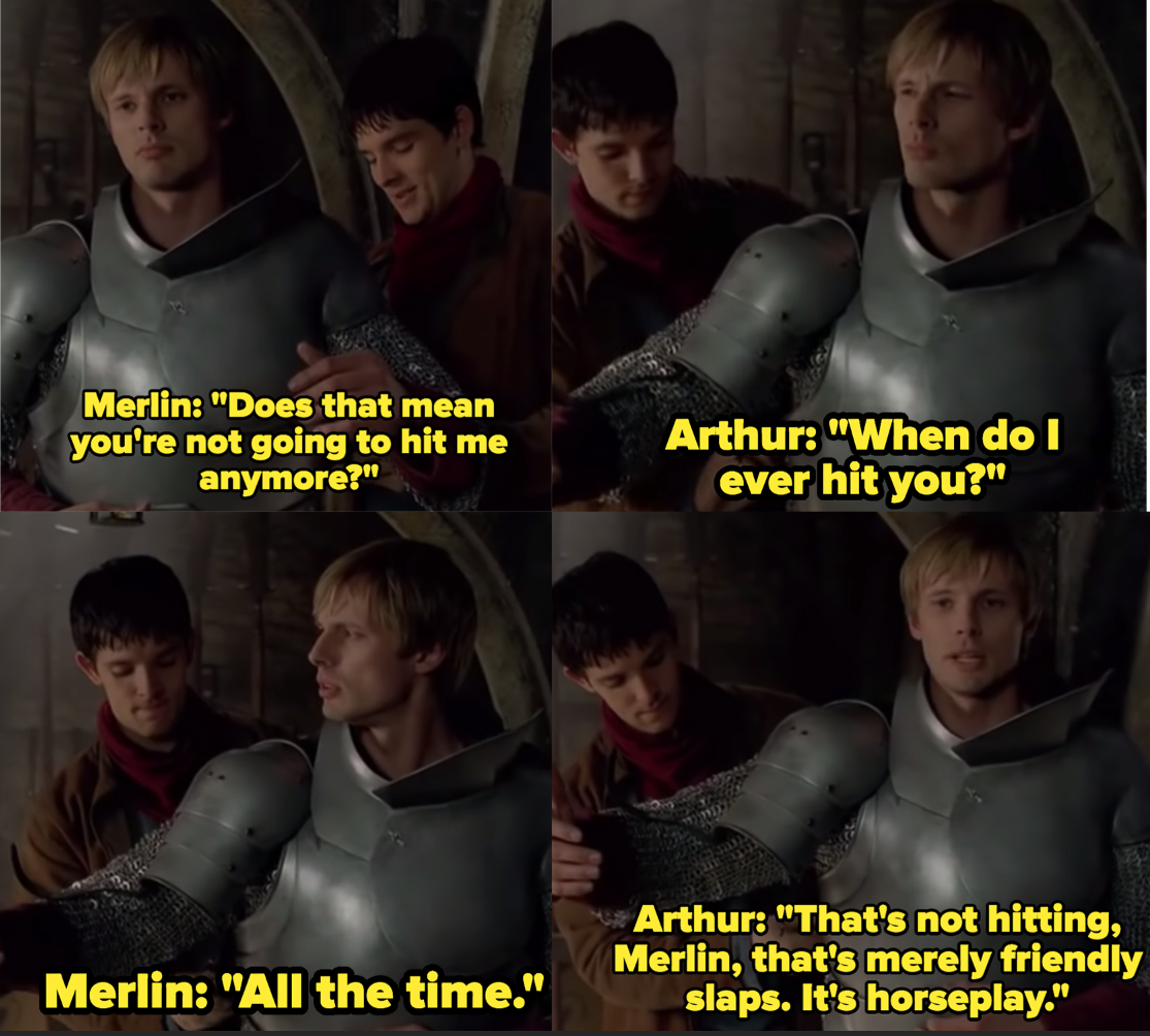 "Colin Morgan as Merlin and Bradley James as Arthur Pendragon in the show ""Merlin."""