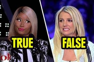 Nicki Minaj saying the fact is true but Britney Spears saying it's false