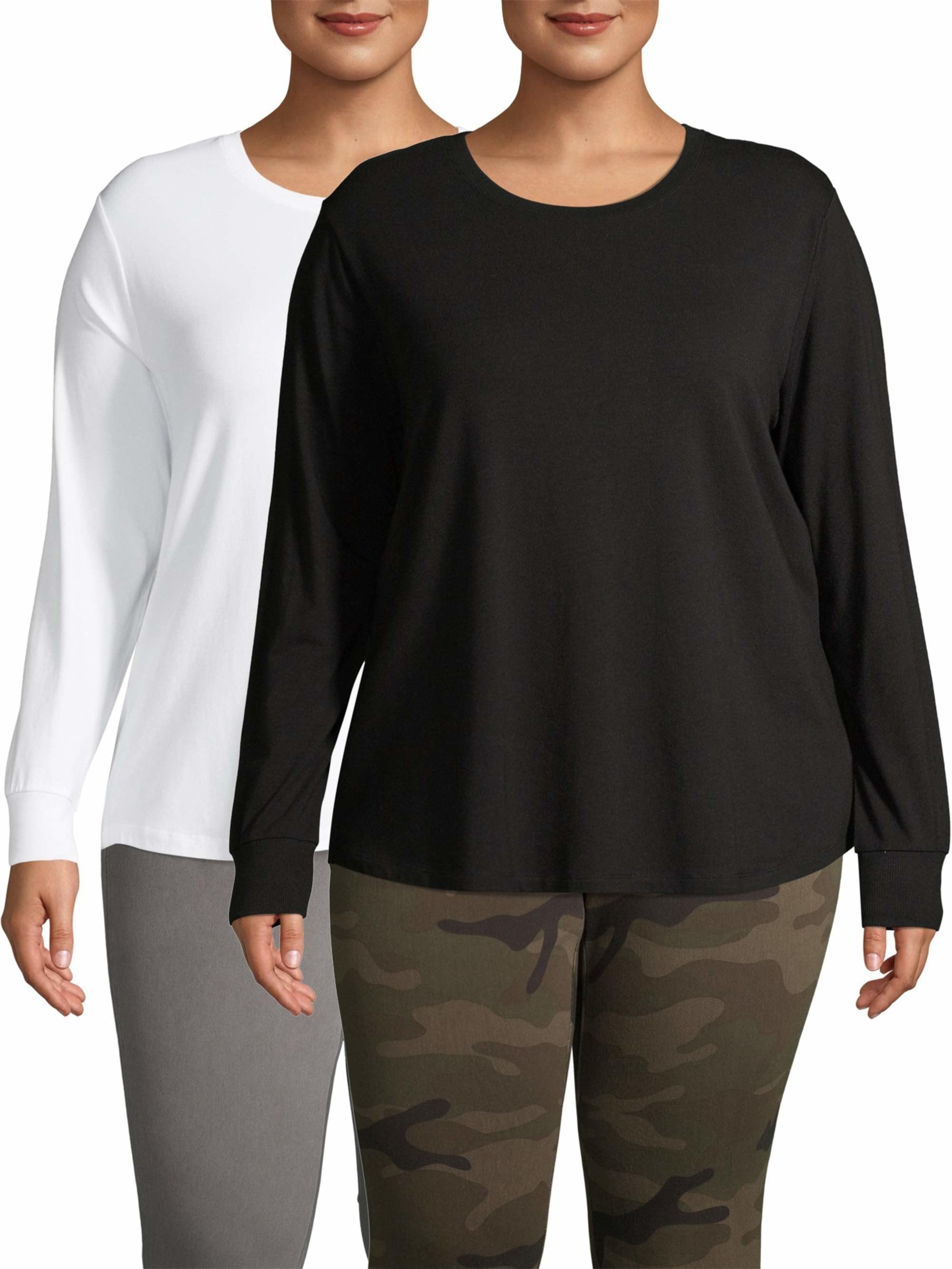 A black and a white longs-sleeve shirt