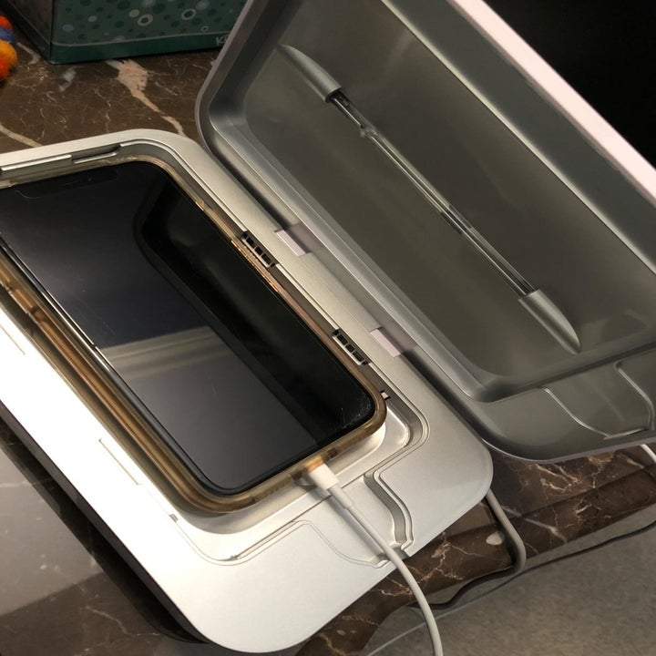 An iPhone inside of the Phonesoap