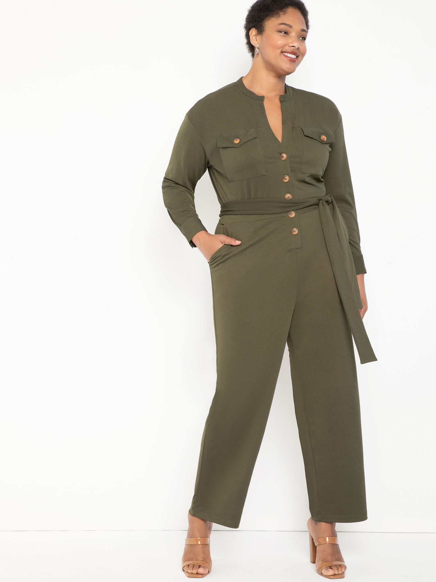 A model wearing the jumpsuit