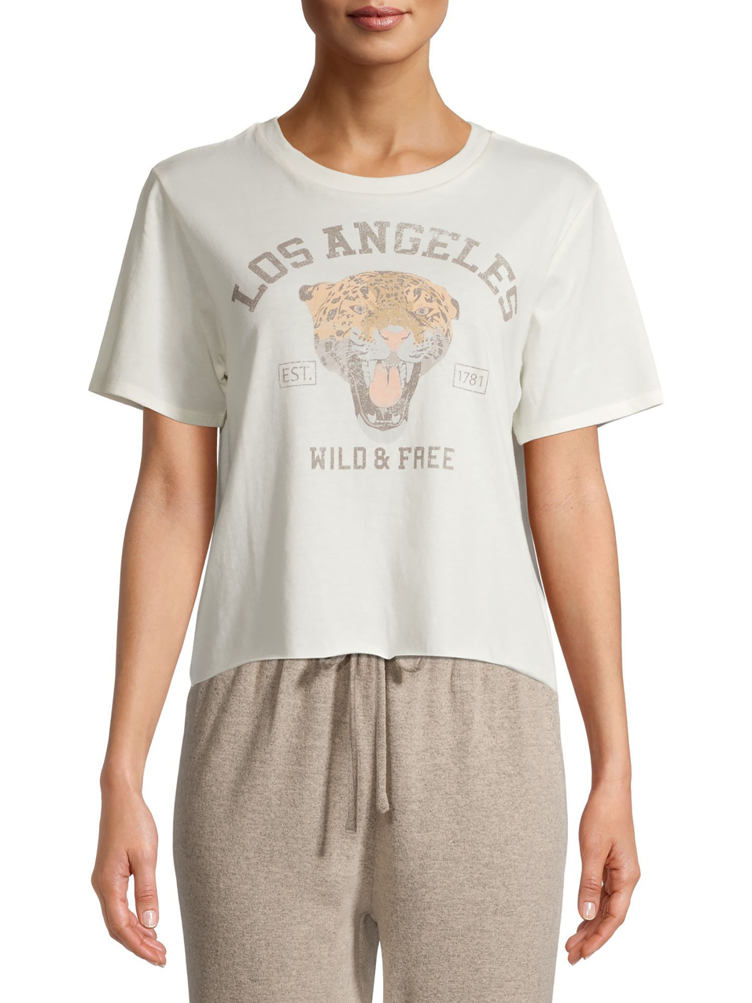 A graphic t-shirt with a tiger that says Los Angeles, wild and free