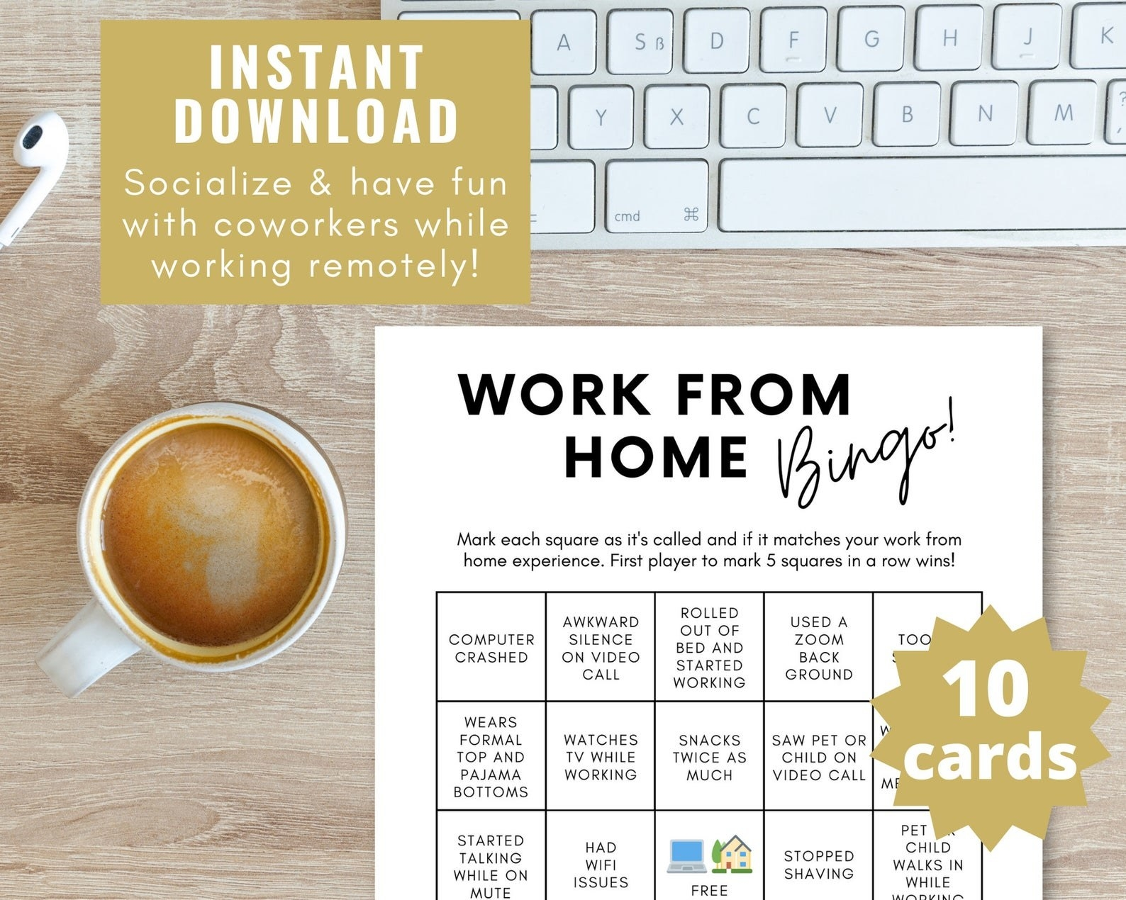"""A Work From Home bingo card with items like """"had wi fi issues"""" or """"used a zoom background"""""""