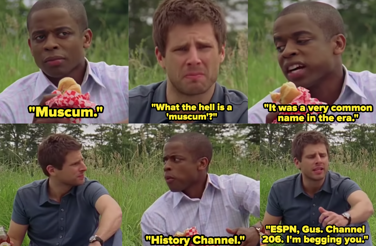 """James Roday as Shawn Spencer and Dulé Hill as Burton """"Gus"""" Guster in the show """"Psych."""""""