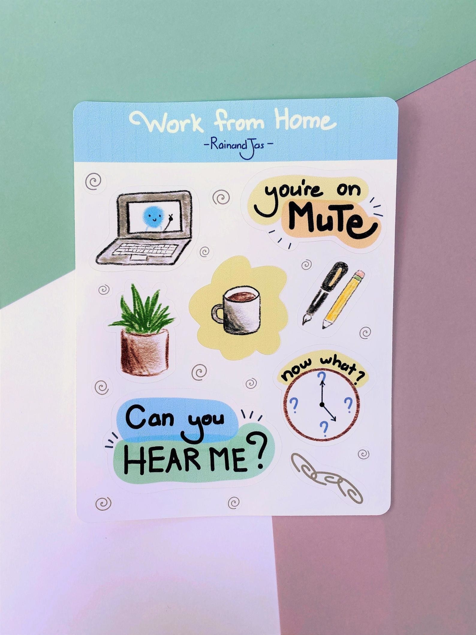 """Sheet of illustrated stickers with things like a succulent, coffee, and the words """"you're on mute"""""""