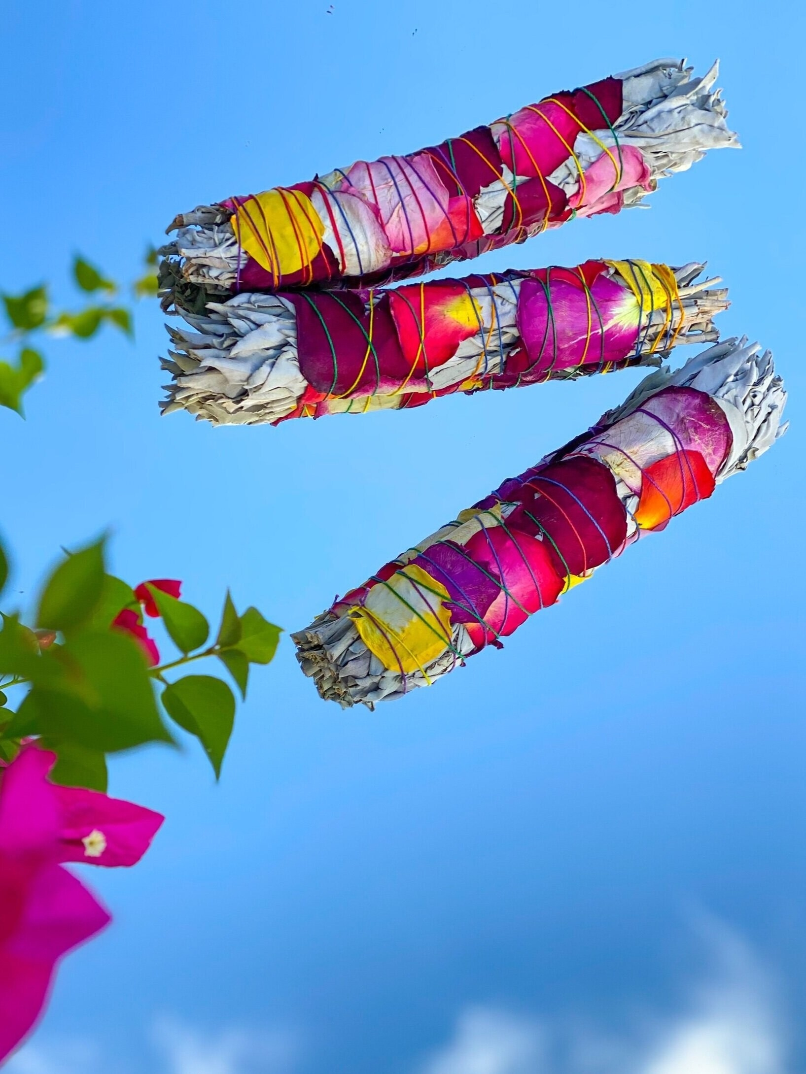 Smudge sticks that have sage and roses