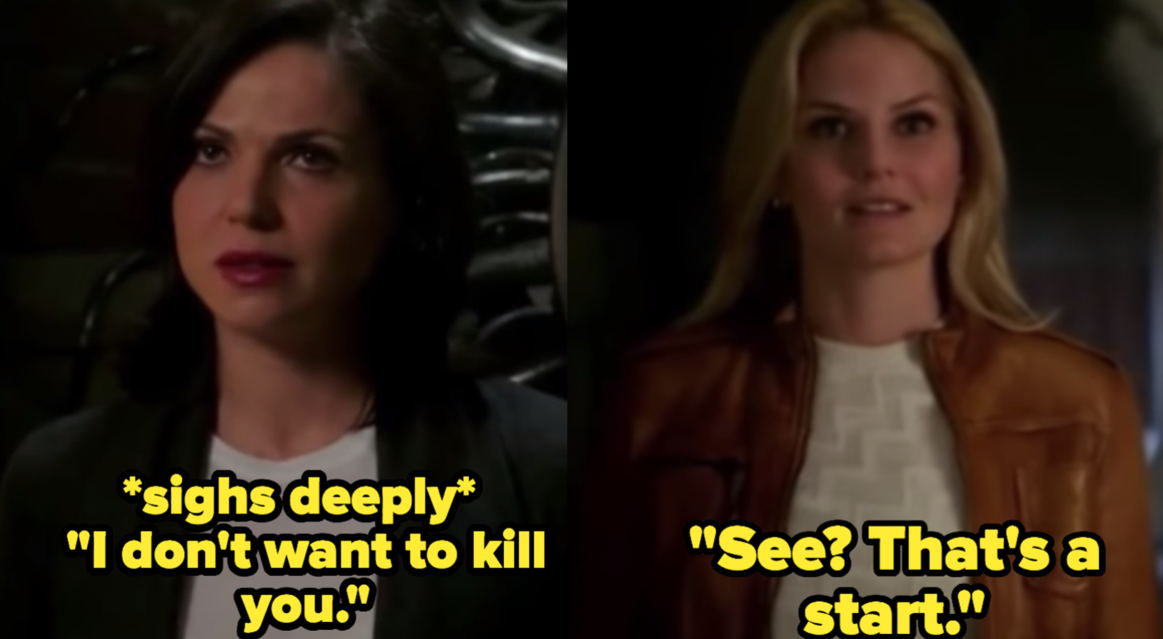 """Jennifer Morrison as Emma Swan and Lana Parrilla as the Evil Queen / Regina Mills in the show """"Once Upon A Time."""""""