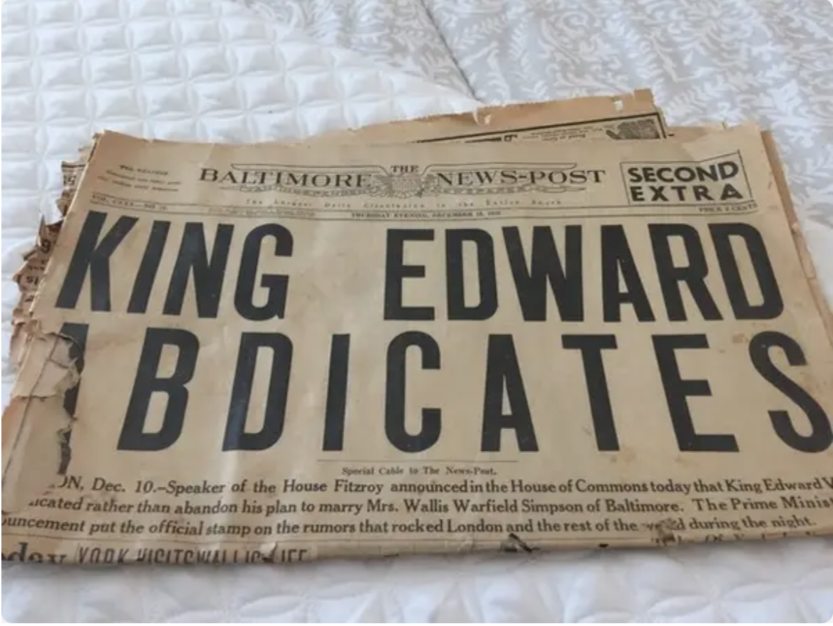 A 1936 edition of the batimore news post with the headline: king edward abdicates