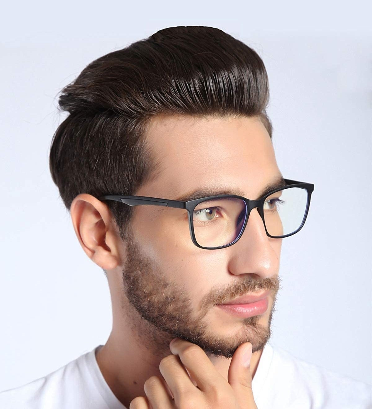 a model wearing ANRRI Blue Light Blocking Glasses