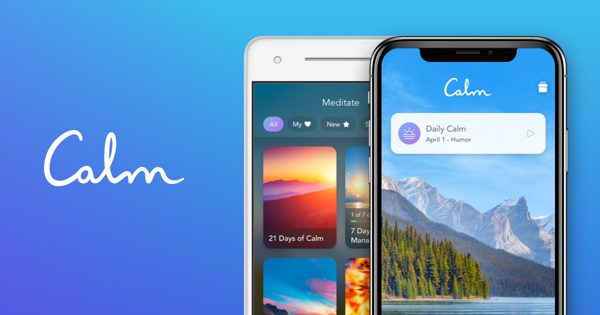 two phones open to the calm app