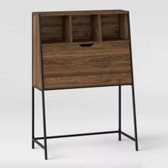 A brown wooden fold up desk with metal legs