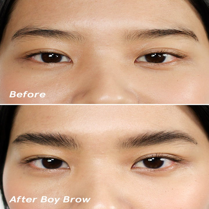 Before and after shot of person using Boy Brow with significantly thicker brows after